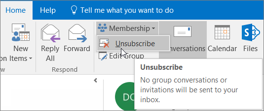 Users can unsubscribe from a group an no longer get emails sent to their inbox.