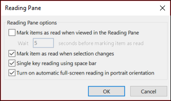 You can change the Reading Pane options.
