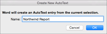 Create New AutoText dialog box