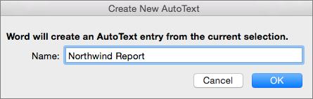 Create New AutoText dialog box