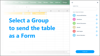 Screenshot: Selecta group to send the table to