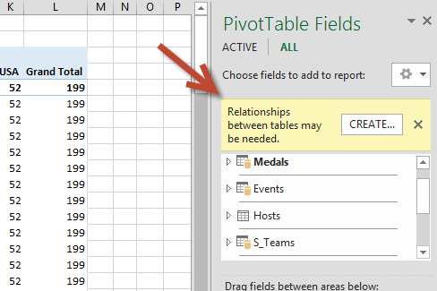 The CREATE... relationship prompt in PivotTable Fields