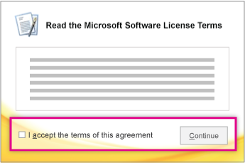 Read and accept the licensing terms