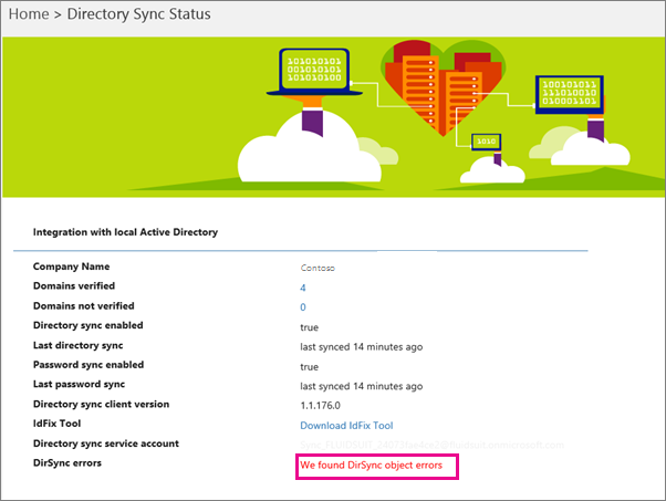 On the Directory Sync Status page you can see if there are DirSync object errors