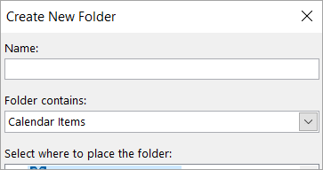 Create New Folder dialog box
