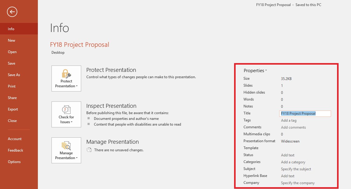 Office Document Properties - File > Info Panel