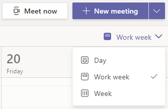 Select down arrow next to Work Week in the top right of page