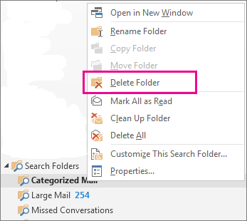 delete search folders