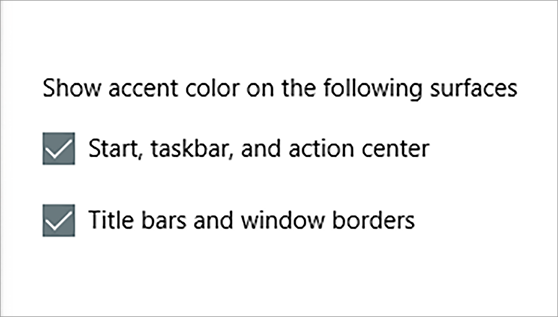 Show accent color check boxes in personalization colors UI