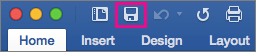 The Save icon is highlighted on the ribbon in Word 2016 for Mac.