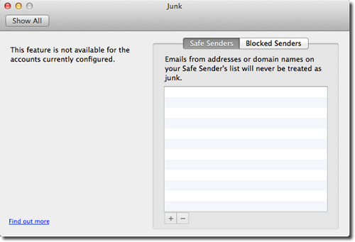 Junk page including Safe and Blocked senders