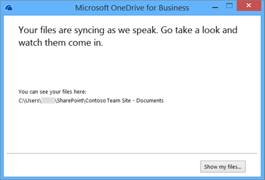 An image of the dialog box you'll see when synchronizing starts.