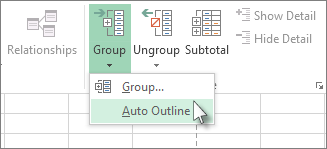Click the arrow under Group, and then click Auto Outline