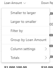 Loan Amount column drop-down