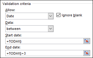 Validation criteria settings to restrict date entry to a specific time frame