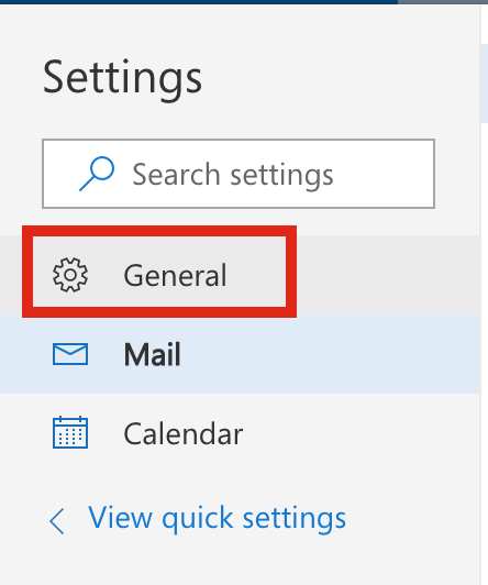 Screenshot showing the option to select General