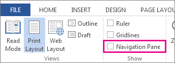 The Navigation pane check box
