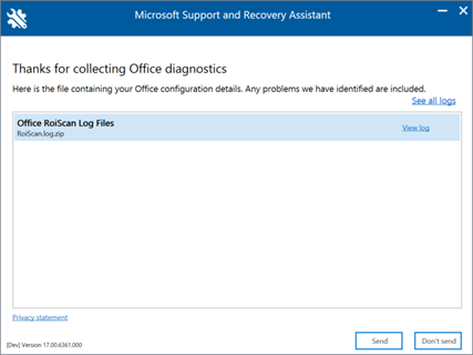 An image of Microsoft Support and Recovery Assistant window with collected logs.