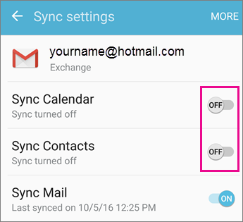 Can't sync calendar and contacts with my phone or tablet