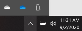 OneDrive personal and work or school sync icons.