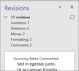 Reviewing pane with detailed revisions