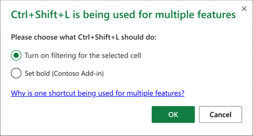 Keyboard shortcut conflict dialog listing possible actions
