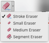 On the Mac, PowerPoint for Office 365 has four erasers for digital ink.