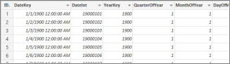 DateStream Calendar table in Power Query Editor