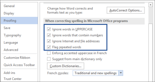 Options to ignore words when correcting spelling