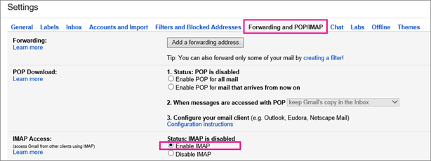 In Gmail, choose Forward and POP/IMAP to choose your POP settings.