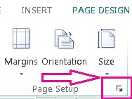 Page Setup dialog launcher