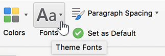 Design tab fonts button