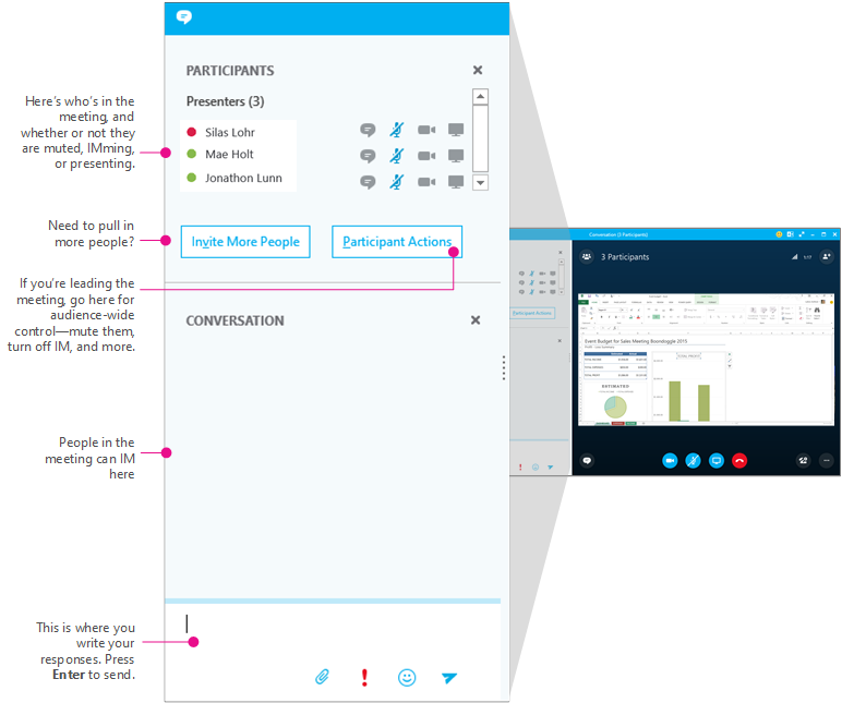 Skype for Business meetings window, IM pane, diagrammed