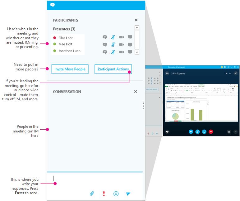 Skype for Business meetings window, IM pane, diagrammed