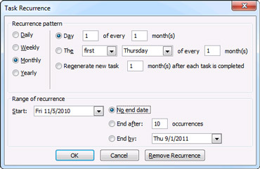 Task Recurrence dialog box