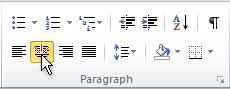 Center button in paragraph group