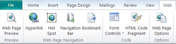 Web tools tab in Publisher 2010