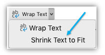 Screen shot showing the Shrink Text to Fit button on the ribbon.