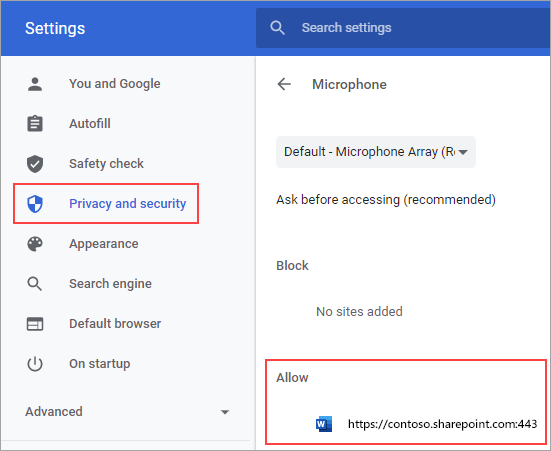 Microphone permissions settings page for Chrome