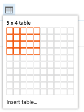 Add a simple table in Outlook on the web.