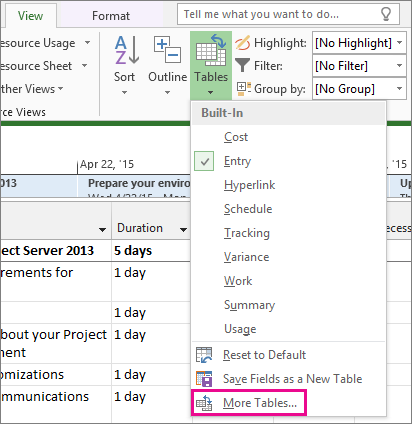 Hide or unhide a column in a Project view - Project