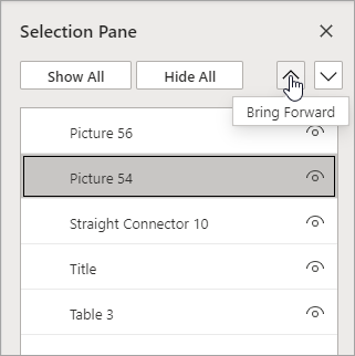 Use the Selection Pane to reorder stacking for the items.