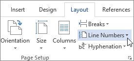 Line Numbers in the Page Setup group
