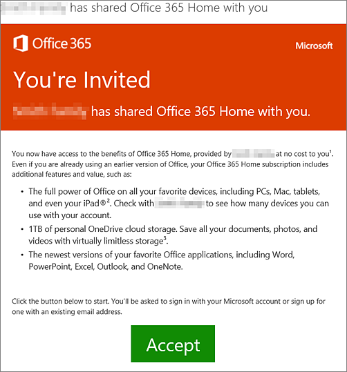 Email announcing someone has shared Office 365 Home with you