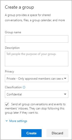 Create group pane with all information filled out