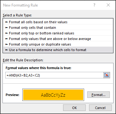 Conditional Formatting > Edit Rule dialog showing the Formula method