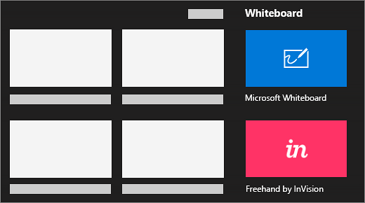 Options to whiteboard using Microsoft Whiteboard or Freehand by InVision