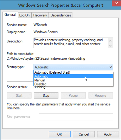 The Windows Search Properties dialog shows the setting Automatic selected for Startup type.