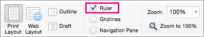 On the View menu, select Ruler