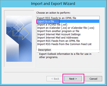 Choose Export to a file and then choose Next.